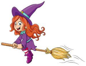 Kleine Hexe auf Besen