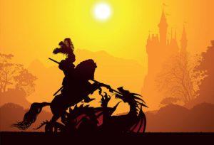 Ritter kämpft mit Drachen